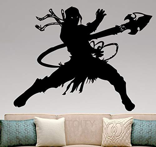 ouette Vinyl Aufkleber Mortal Kombat Wandkunst Aufkleber Home Interior Design Schlafzimmer Wohnheim Dekor Jungen Zimmer Removable Mural60X75Cm ()