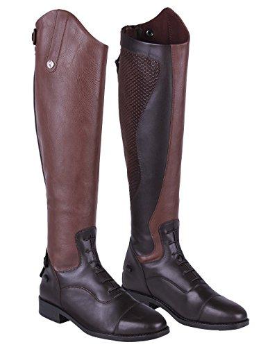 QHP Damen Lederreitstiefel Nina mit Anti-Slip Beschichtung an der Innenseite Normale Wadenweite (40, Braun)