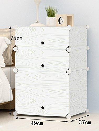 flashing-diy meubles en bois de Imitation du chambre, Cabinet de le lit de la résine de Plastique, matériel de de stockage Mini, armoires simples Cabinet au chevet moderne Simple avec portes