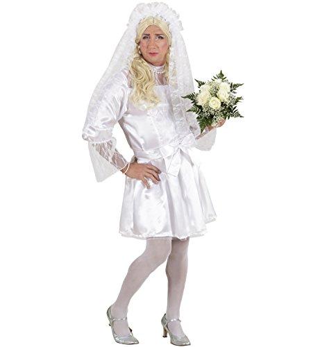 Party-Teufel Komplett Kostüm Männer Brautkostüm mit Kleid Petticoat Gürtel Brautschleier Haarschmuck weiße Strumpfhose Einheitsgröße Junggesellenabschied (Weiß Sie Teufel Kostüm)