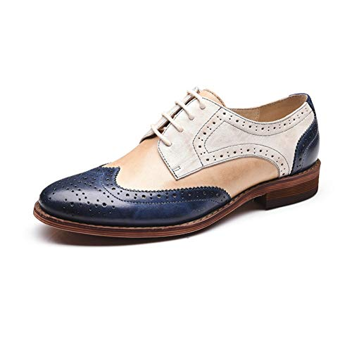 OOFAN Damen Leder Oxfords Perforierte Lace-Up Wingtip Low Heel Carving Brogue Kleid Schuhe Rosa Und Blaue Farbabstimmung,Blueandmixedcolors,37 (Wingtip Rosa Schuhe)