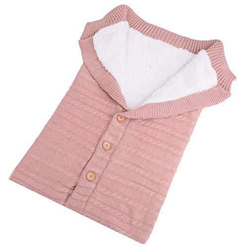 MAyouth Neugeborenes Baby Swaddle Button Blanket Wrap Samt, Kinder Kleinkind Dicke Strick Weiche warme Fleece Schlafsack Schlaf Sack Kinderwagen für Jungen und Mädchen (Rosa)