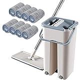 Set di mocio a secchio Chen0-super piatto Lavaggio, mocio e secchio a spremitura piatta, mop a secco Sistema Mop Detergente per pavimenti, Acqua sporca separata da acqua pulita Mop piatto autopulente