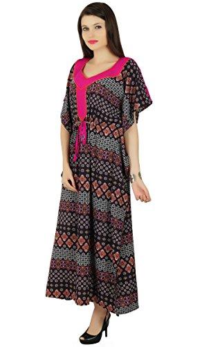 Phagun Caftan Polyester Imprimé Floral Bohemian Kaftan Maxi Vêtement de nuitDress Noir Et Orange