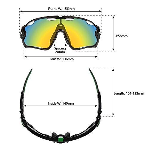 LeaningTech Unisex Fahrradbrille Sonnenbrille für Herren und Damen, Polarisiert Radbrille Sportbrille Schutzbrille mit 5 Wechselgläser, UV400 Schutzbrille für Sport Radfahren Skifahren Fishing Angeln Reiten Fahren Laufen Joggen Golf
