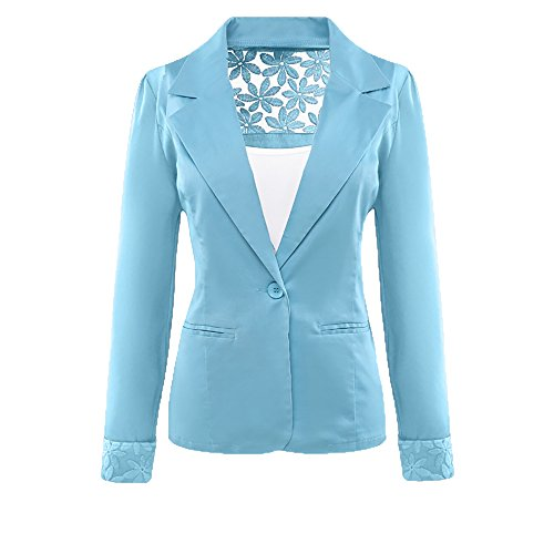 SBelle Women Boyfriend Blazer Light Blue XL