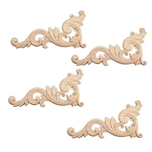 4 Stück Verziehrung Ornament Holzornamente Handgemacht für Schrank Möbel Ecke 15.25x7.5cm (Ecke Schrank Möbel Verwendet)