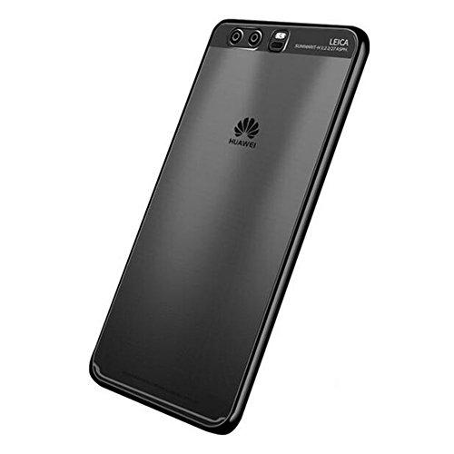 """Huawei P10 Plus (5.5"""") Hülle, MSVII® Durchsichtig Weich TPU Silikon Bumper Hülle Schutzhülle Case Und Displayschutzfolie für Huawei P10 Plus (5.5"""") - Gold JY60029 Schwarz"""