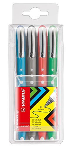 Tintenroller - STABILO worker+ colorful - medium - 4er Pack - grüne, rot, blau, schwarz (sortiert)