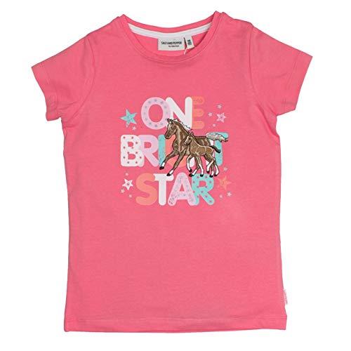 SALT AND PEPPER Mädchen Horses Schrift Stick T-Shirt, Pink (Flamingo Pink 840), 128