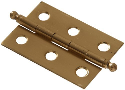 Solid Brass Ball (The Hillman Group 851195 1-1/2 x 1-1/4 Solid Brass Ball Tipped Hinge - Bright Brass Finish 2-Pack by The Hillman Group)