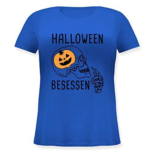 Halloween - Halloween Besessen Totenkopf Kostüm - L (48) - Blau - JHK601 - Lockeres Damen-Shirt in großen Größen mit Rundhalsausschnitt
