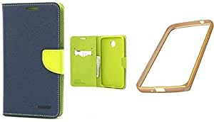 Generic Mercury Diary Flip Cover For Micromax Nitro A310Blue With Backless Matellic Bumper Golden