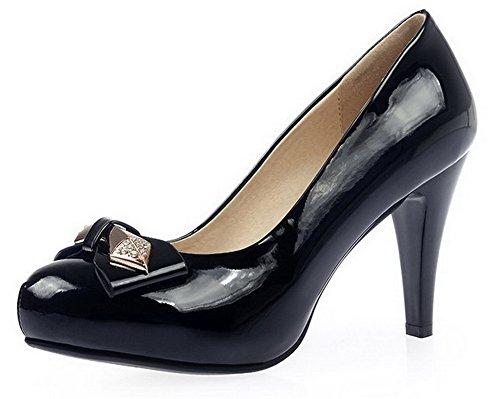 AllhqFashion Femme Matière Mélangee Rond Stylet Boucle Couleur Unie Chaussures Légeres Noir