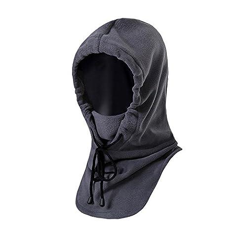 Hiver Thermique Balaclava Unisexe Molleton Écharpe Masque Complet pour les Activités de Plein Air-Gris