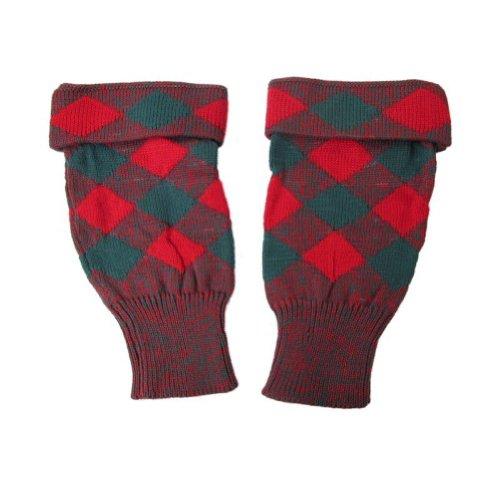 Tartanista - Hauts de bas tricotés - pour homme - tartan - rouge/vert - XL - Mollet 38 cm longueur 34 cm