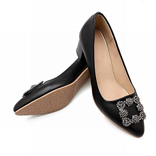 Mee Shoes Damen modern bequem Geschlossen Metall-Dekoration Strass chunky heel Pumps Schwarz