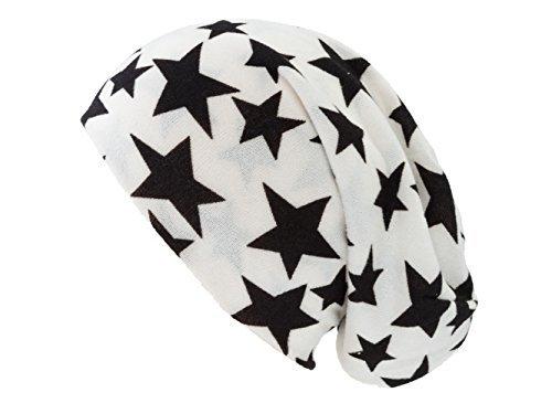 Shenky - Bonnet unisexe - jersey Blanc avec Étoiles Noires