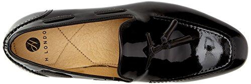 Hudson Noir Brevet antidérapant sur drapé effet Flâneur Chaussures Noir