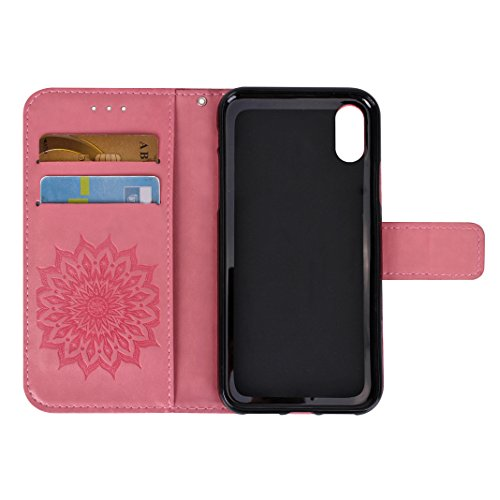 Etui iPhone X Case,Coque Cuir iPhone X Housse Apple Case Rosa Schleife Folio Cuir Portefeuille Ultra Slim Leather Wallet arriere Housse Téléphone etui de protection Pochette etui a rabat Smart Cover F Rose