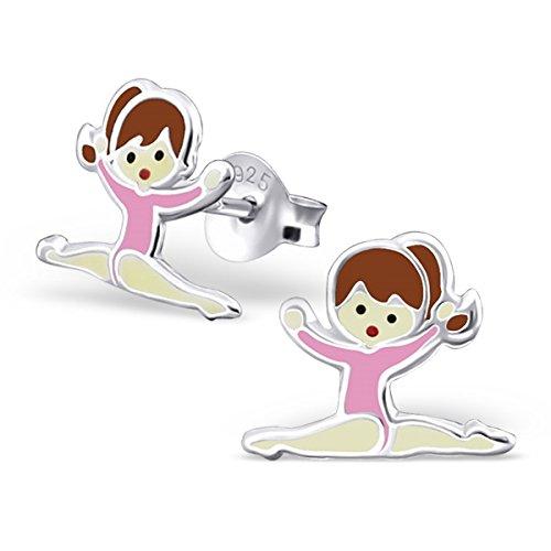 par-de-pequenas-de-los-ninos-plata-de-ley-maillot-de-gimnasia-nina-con-rosa-stud-pendientes