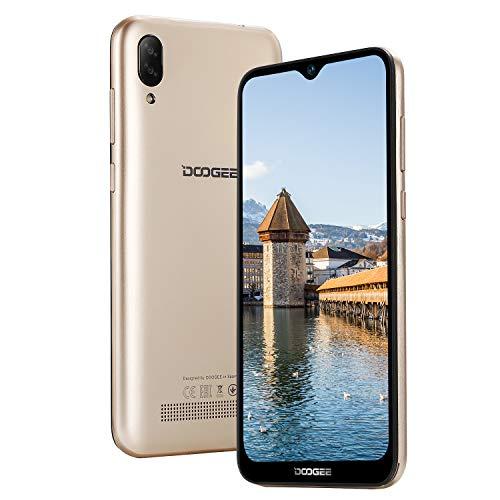 DOOGEE X90 Dual SIM 3G Smartphone ohne Vertrag Android 8.1, 19:9 6,1 Zoll, Handy ohne Vertrag Günstig Quad-Core 1GB RAM 16GB ROM, 3400mAh, 8MP+5MP Dual Kamera, GPS, Gesichtserkennung ID - Gold