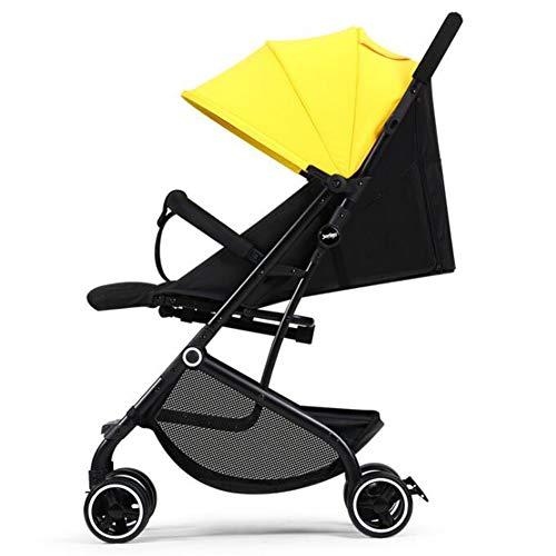 Wp.bewa Vierrädriger Kinderwagen Reise Buggy Einhand Kompakt Klappbar Für Neugeborene Und Kleinkinderwagen Einzelkinderwagen Leichter Reisekinderwagen Mit 360 Grad Schwenkräder(Gelb)