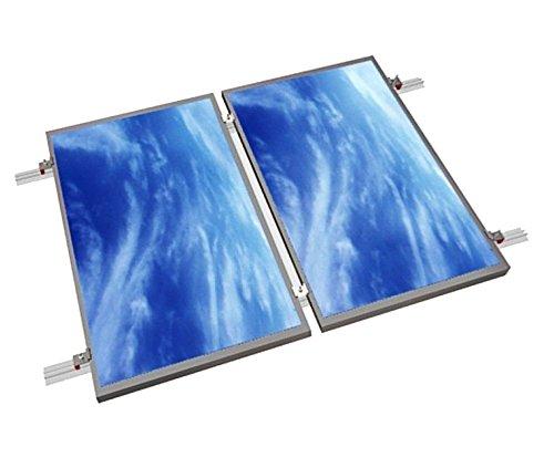 Estructura de gran calidad en aluminio y acero inoxidable para instalación sencilla y segura de 2 placas en tejado.