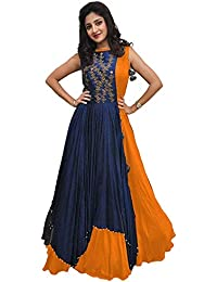 4831aed994a Ghaludi Fab Women s Banglory Silk Embroidered Gown with Jacket (Free Size)