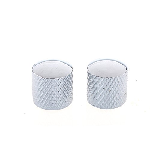 Metric Metal Dome Control Knobs for Tele Electric Guitar or Bass, Chrome 2 Pack