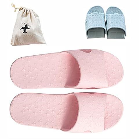 Flodable pour Trip Slip on Chaussons avec un sac de rangement en lin gratuit antidérapant Douche Sandales Maison Mule léger piscine Chaussures de salle de bain Slide, rose