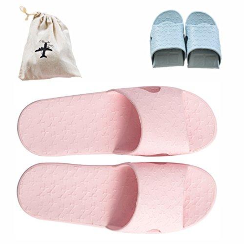 Ciabatte pieghevoli, da viaggio, leggere, antiscivolo, per doccia, piscina, bagno, con borsa in lino inclusa, flodshowerslipperpink35-37, pink, uk women4.5-5.5 (24cm 9.6