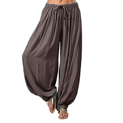 Haremshose Yoga Solid Bettwäsche Baumwolle Falten Gefaltet Kordelzug Zug Lose Loose Lang Long Übergröße Plus Size Aladdin Indian Bloomers Knickers (M,Grau) ()