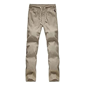 Hongxin Männer Kordelzug Lässige Strandhose Einfarbig Lose Freizeithosen Gerade Hose aus Leinen Schmale Passform Sporthosen