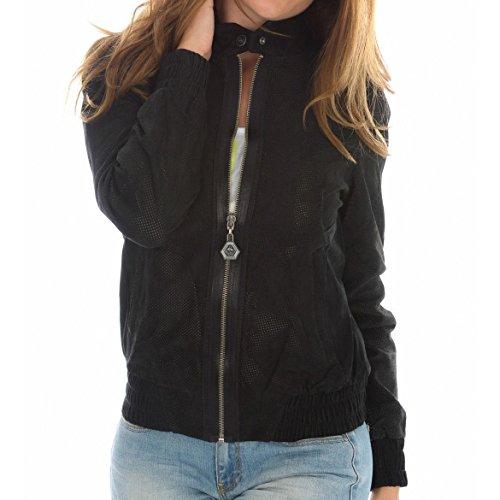 Puma Perforated Leather Zip Jacke Lederjacke Damen schwarz