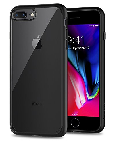 Spigen (043CS21137) Coque iPhone 7 Plus, Coque iPhone 8 Plus, [Clear HARD PC back panel + Noir FLEXIBLE bumper] Transparence/Protection [Ultra Hybrid 2nd Generation] AIR CUSHION [Noir] Reinforced Camera Protection Pour iPhone 7 Plus / 8 Plus -