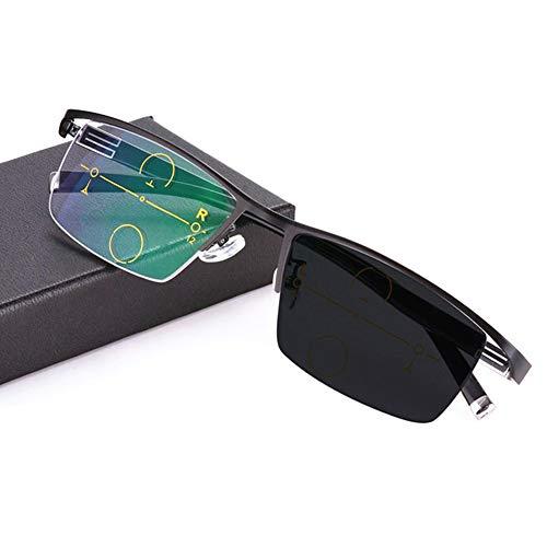 Intelligente photochrome Lesebrille, einstellbares Sehvermögen mit multifokaler Dioptrien-Gleitsichtbrille, leichte und dünne asphärische Linsen, stilvoller Geschäftskomfort
