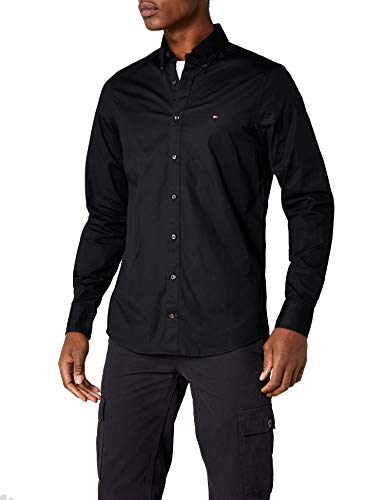 Tommy Hilfiger Herren CORE Stretch Slim POPLIN Shirt Freizeithemd, Schwarz (Flag Black 083), XXX-Large