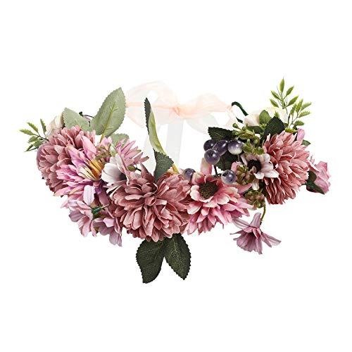 AWAYTR Boho Blumenkrone Stirnband Festival Kopfschmuck - Handgefertigt Blume Haarkranz mit Band Beere Blumenstirnband für Frauen und Mädchen Kleid (Rosa + Lila) Kinder Mädchen Blumen-shop