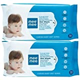 Mee Mee Caring Baby Wet Wipes, Aloe Vera (72 Pieces) Pack Of 2