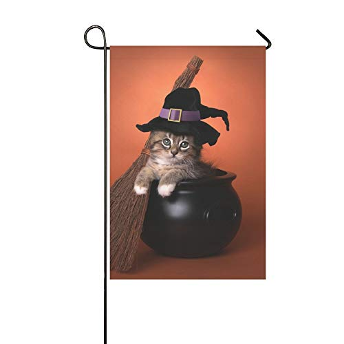 QuqUshop Wohnkultur Outdoor Doppelseitige Lustige Halloween Hexe Themen Kätzchen Garten Flagge Haus Hof Flagge Garten Hof Dekorationen saisonale Willkommen Outdoor Flagge 12x18 In (Schwarze Kätzchen Kostüm)