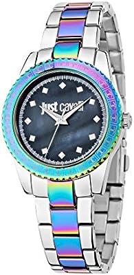 Just Cavalli de puesta de sol para mujer Just reloj infantil de cuarzo con azul esfera analógica y correa de acero inoxidable R7253202509