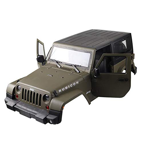 Preisvergleich Produktbild Motto.H RC Car Shell,  Car Body Shell,  Wrangler Car Shell 1:10 JEEP Doppeladlerabdeckung Autozubehör (Grüne Tür Military Version)