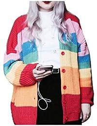 ac55e742ad Strickmantel Damen Frühling Herbst Elegante Regenbogen-Farben Gestreift  Mode Marken Langarm Locker Strickjacke…