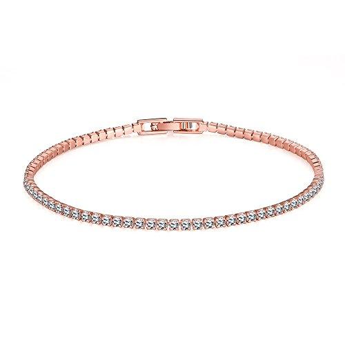 Armband Damen Gold überzogene Tennis-Armband-Prinzessin schneiden 2mm kubisches Zirconia für Damen (Damen-armband Cartier)