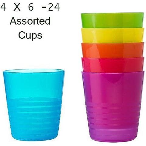 Bicchieri di plastica/tazza 20Cubic L microonde, colori assortiti, confezione da 24