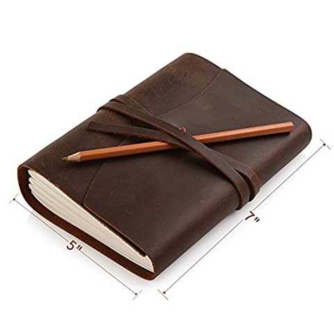 Handmade Leather Notebook Journal - Vintage Bound Notebook Daily Notepad For Men & Women,Medium 7 x 5 Inches, Quality Unlined Cream Paper ,Perfect for Notes, Art Sketchbook, Travel