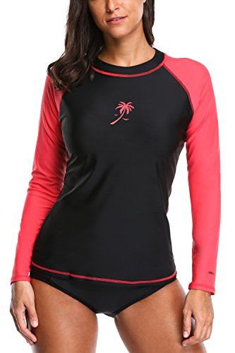 Attraco Damen Bademode UV-Schutz Langarm Shirt Rashgaurd Oberteil UPF 50+ Farbe: Shwarz-Rot, Gr. XL