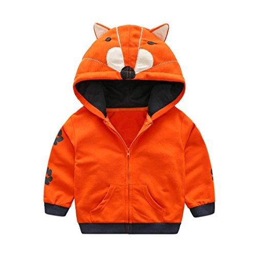 s Kinder Baby Mädchen Cartoon Tier Kapuzen Reißverschluss Tops Kleider Mantel Kapuzenjacke Dicke Warm Outwear Kleidung 0.5-5Jahre (90, Orange) (Halloween Cartoons Für Babys)