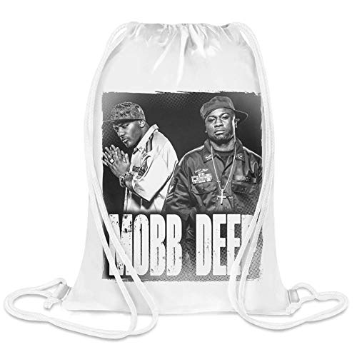 Clubbing Designs Mobb Deep Duo Custom Printed Drawstring Sack | 100% Soft Polyester| 5 Liter Capacity| Adjustable String Closure| The Stylish Bag For Every Day Use| Custom Bags By